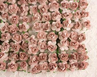 144 Paper Roses / Mocha / Mauve / 12 Dozen Flowers / 14 mm / Warm Brown / Bridal / Wedding Favors / Baby Shower / Hats / Invitations