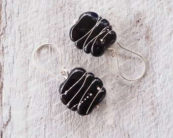 Black earrings - wear them to work or out to dinner. These stunning earrings feature handmade glass beads. Modern statement earrings.