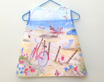 Baby Dress beach, sea, Nautical, Ready to Shipsundress, beach, sea, baby dress girl, navy ,nautical dress, bicycles and sea