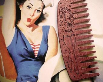 Big Red Beard Comb - Sailor Pin Up Girl