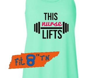 THIS NURSE LIFTS Crossfit Workout Fitness running Tank Racerback Tank-top weightlifting