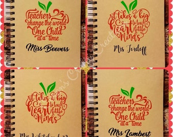 Teacher's gift. Personalised lined notebook. Hard back spiral book. Apple design