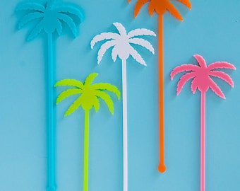 Drink Stirrers, Palm Springs Palm Trees, Swizzle Sticks, Laser Cut, 6 CT.