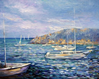Art pictures, landscapes, sea pictures, Mallorca, landscape images, oil painting, murals, sailboats, Bay