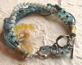 Silpada Quartzite. Kyanite, Apatite, Seed Beads Blue Green Mulit Strand Sterling Brass and Silver Bracelet.