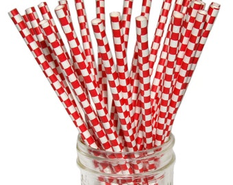 SALE! Red Checkered Paper Straws