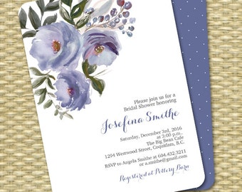 Printable Bridal Shower Invitation Watercolor Flowers Watercolor Floral Cornflower Blue Soft Blue ANY EVENT