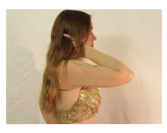Ecru skin color bolero belly Dance with Bling