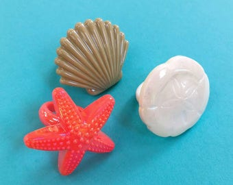 Sea Shell Cupcake Toppers (12), Plastic Shell Rings, Beach Decor, Beach Party, Pool Party, Coastal Party Decor, Under the Sea, Mermaid Party