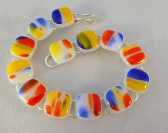 8 or 7 Inch Red, Yellow, Blue, White Fused Glass Bracelet, Fused Glass, Fused Glass Bracelet, Multi-colored, Colorful Bracelet, Rainbow