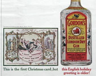 1963 Gordon's Distilled London Dry Gin Ad - First Christmas Card 1843 - 1960s Advertising