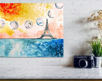 Moon Phase Art Print, Blue Wall Art, Red Wall Art, Waning Gibbous Moon Phase Art Print, Eiffel Tower