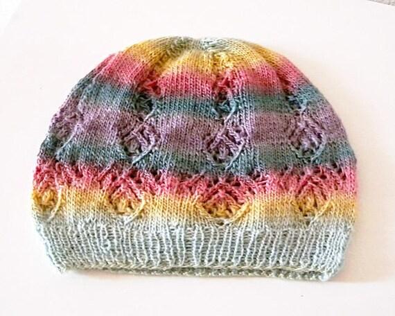 Lace Hat Knitting Pattern In Fingering Weight Sock Yarn Delicate