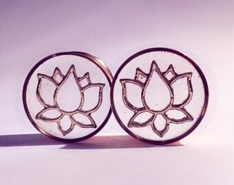 25mm Rose gold lotus cut out plugs!