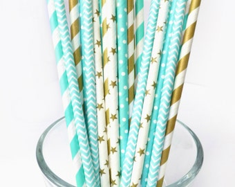 Turquoise Paper Straws - Gold Paper Straws - Striped Paper Straws - Turquoise Party Decor - Aqua Paper Straws - Chevron Paper Party Straws