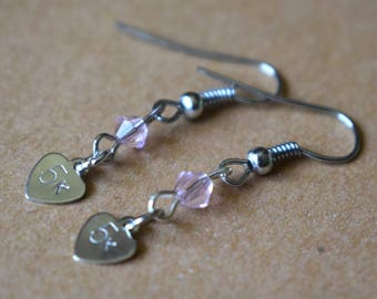 "Hand Stamped ""5k"" Earrings with Pink Beads"