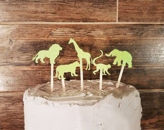 Animal Safari Glitter Cupcake Toppers - Color Customized (Wild Zoo Baby Shower Birthday Party)