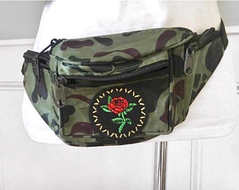 Camo and rose fanny pack, camouflage fanny pack with a rose embroidered patch appliques, four zippered pocket bum bag