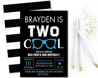 Two Birthday Invitation - Boys 2nd Birthday Party - Modern Black & Blue Printable Invitation
