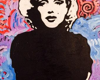 Marilyn Monroe Art by Matt Pecson Original Painting on Canvas Wall Art Pop Art Painting Urban Art Girlfriend Gift for Her MADE TO ORDER