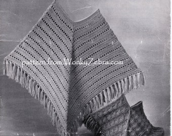 Crochet Poncho pattern Vintage poncho shawl Pattern Patterns to crochet and to knit PDF 802 from WonkyZebra