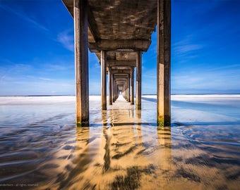 Scripps Pier, Large Beach Photography, San Diego California Pier Beach Photo, Pier, Blue Sky, Perspective, Serene, Pacific Ocean Print