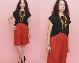 80s 90s Culottes // 80s Pleated Shorts // High Waist Shorts // Orange Shorts // Orange Culottes // Minimal Culottes