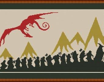 Hobbit Silhouette cross stitch pattern Instant Download PDF