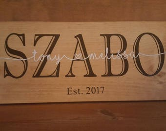 Personalized Wedding/Anniversary Signs, Wood Wall Art, Custom  Name Sign, Family Name Sign