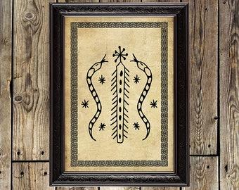 Damballah, Great Snake, snake print, serpent, voodoo, veve, voodoo print, voodoo poster, Loa, snake poster, pagan God, voodoo sign, magic,14
