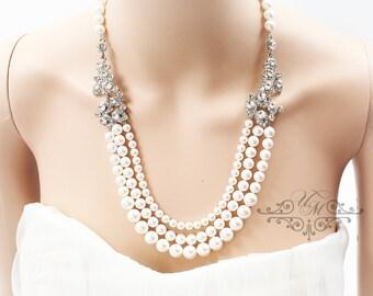Wedding Jewelry triple stands Swarovski Pearl Necklace Rhinestone Necklace Bridal Necklace Bridesmaids Necklace Grand Necklace - ACIA