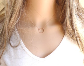 Rose Gold Circle Necklace, Rose Gold Necklace Dainty, Minimalist Necklace, Simple Necklace, Rose Gold Jewelry