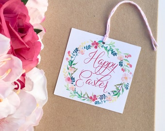 Happy Easter Floral Wreath Tag- Set of 12 // Easter Gift Tags // Easter Basket Gift Tag // Easter Tags // Easter Favor Tags // Happy Easter