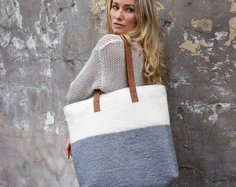 ISTA Felt Tote with Faux Leather Handles (in 3 colours)