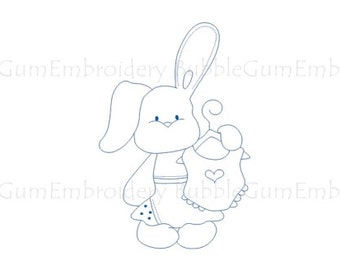 Bluework Baby Bunnies Embroidery Designs Instant Download