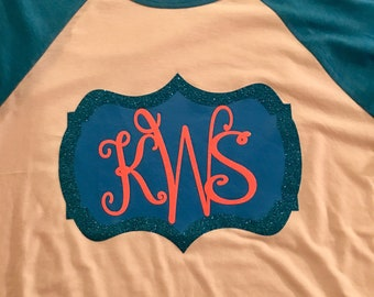 Ladies monogrammed baseball tee
