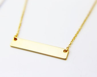 Dainty Name Plate Necklace / Free Engraving Hand Stamped Personalized Necklace / Name Bar Necklace