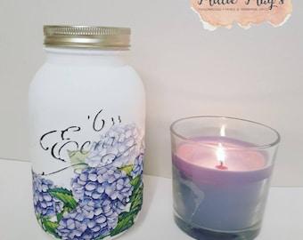 Pretty Flowers, Hydrangeas, Blue, Mason Jar, Painted Jar, Decoupage,  Spring, Flowers, Pretty Jar