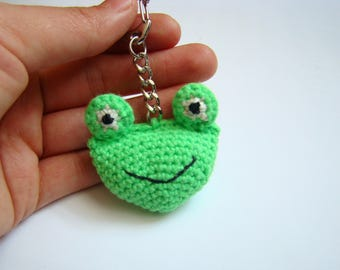 Crochet frog key ring bag charms amigurumi frog  handmade crochet crochet gift ideas money bag charm small gift ideas crochet kawaii
