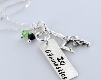 I Love Gymnastics Tag Necklace - Sterling Silver, Gymnast Charm, Swarovski Crystals