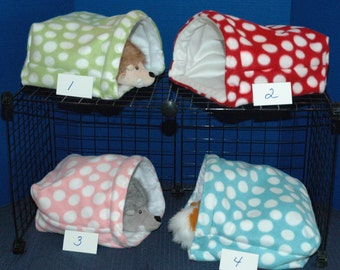 Guinea Pig Snuggle Huts 9x9, 12x12 or 14x14 FREEstanding bag, option matching dotted print top pad waterproof sleep sack play sack hideout