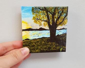 Sunset, Sunset painting, fall, tree, original art, gift, gift under 25, ooak, art, tiny paintings, prettyminipaintings, mini art, small art