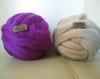 Giant Knitted Wool Big Yarn. 1 LB / 450 gr / 72 colors / 19 mic. Big stitch yarn by woolWow! Super Chunky Merino Yarn.19 microns merino wool
