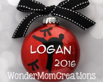 Karate Personalized Ornament; Martial Arts Christmas Ornament; Taekwondo Personalized Ornament; Black Belt Ornament