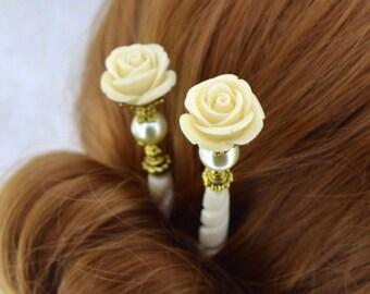 Rose Hairsticks   Bella Rosa   Ivory Hairsticks, Romantic Hairsticks, Romantic Victorian, Elegant Hairsticks, God Hairsticks, Gift for her