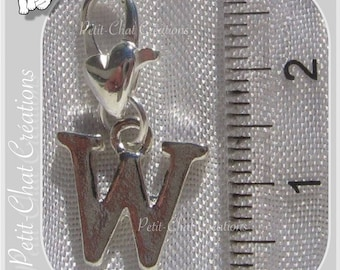 "SILVER 1 ""W"" CHARM ON HOOK METAL ALPHABET LETTER CHARM * K75"