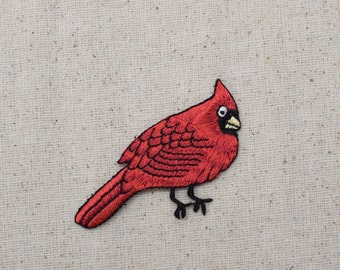 Cardinal - Red Bird - Male - Iron on Applique - Embroidered Patch - 693310A