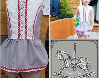toddler and junior girls 2 piece peplum top and bloomers