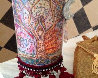 GODDESS Tree Of LIFE, candle votive holder,divine feminine, gypsy art,  zen, Wicca, woman, triple goddess, priestess, altar ritual candle