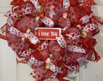 Valentine's Day Front Door Custom Wreath with I Love You Sign